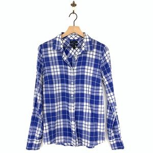 J.Crew Blue Crinkle Plaid Perfect Button Up Shirt
